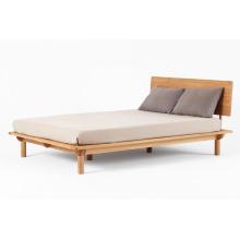 Cama de madera maciza de espalda plana de muebles de dormitorio
