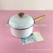 Japanese decal enamel single handle pot /milk pot with wood lid