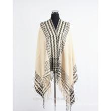 Fashion women faux cashmere border winter poncho shawl