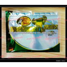 Sacos de plástico com zíper para soft isca de pesca / Folding hold isca de pesca sacos