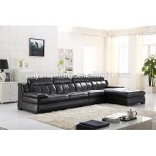 Sofá de sala de estar de couro preto moderno KW347