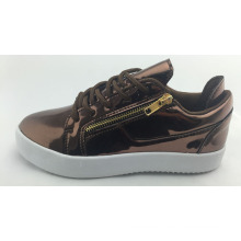 Brown Middle Cut Fashion Casual Skate Shoes for Women, Mirror PU
