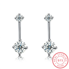 925 Sterling Silver Snow Shape Zircon Ear Stud Fashion Earring