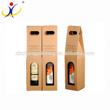 Custom Retail Brown Kraft Paper Boxes Single Wine Boxes