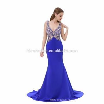 Новое Прибытие Синий Цвет Без Рукавов Из Бисера Длинное Вечернее Платье Рыбка Вырезать