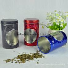 Boîte en étain à thé ronde personnalisée avec fenêtre en PVC Chine Fournisseur