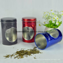 Custom Round Tea Packaging Tin Box com janela de PVC