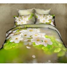 Oriental 3D Floral Duvet Cobertura Coberta Folha de Cama 6PCS Bedding Sets