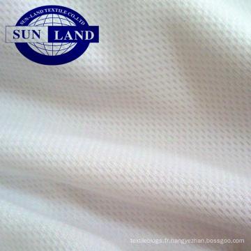 Tissu en maille 100% polyester blanchi pour œil d'oiseau pour l'impression