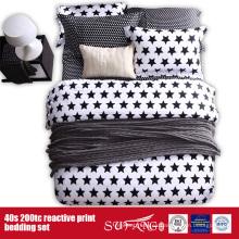 133 * 72 ropa de cama blanca negra impresa para el hotel / el uso en el hogar
