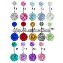 Double Ferido Crystal Ball Belly Ring ,Crazy Belly Button Rings