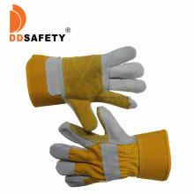 Yellow Small Cow Split Rebar Mechanic Leather Man Handjob Safety Working Gloves, Customer Cowhide Leather Constructions Glosafety Construction Gloves Bulk Price
