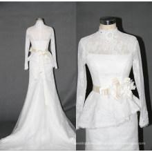 High Collar Long Sleeve Lace Mermaid Wedding Dress F5068