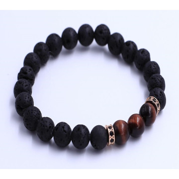 Red Tiger Eye Perlen Lava Steine ​​Armband