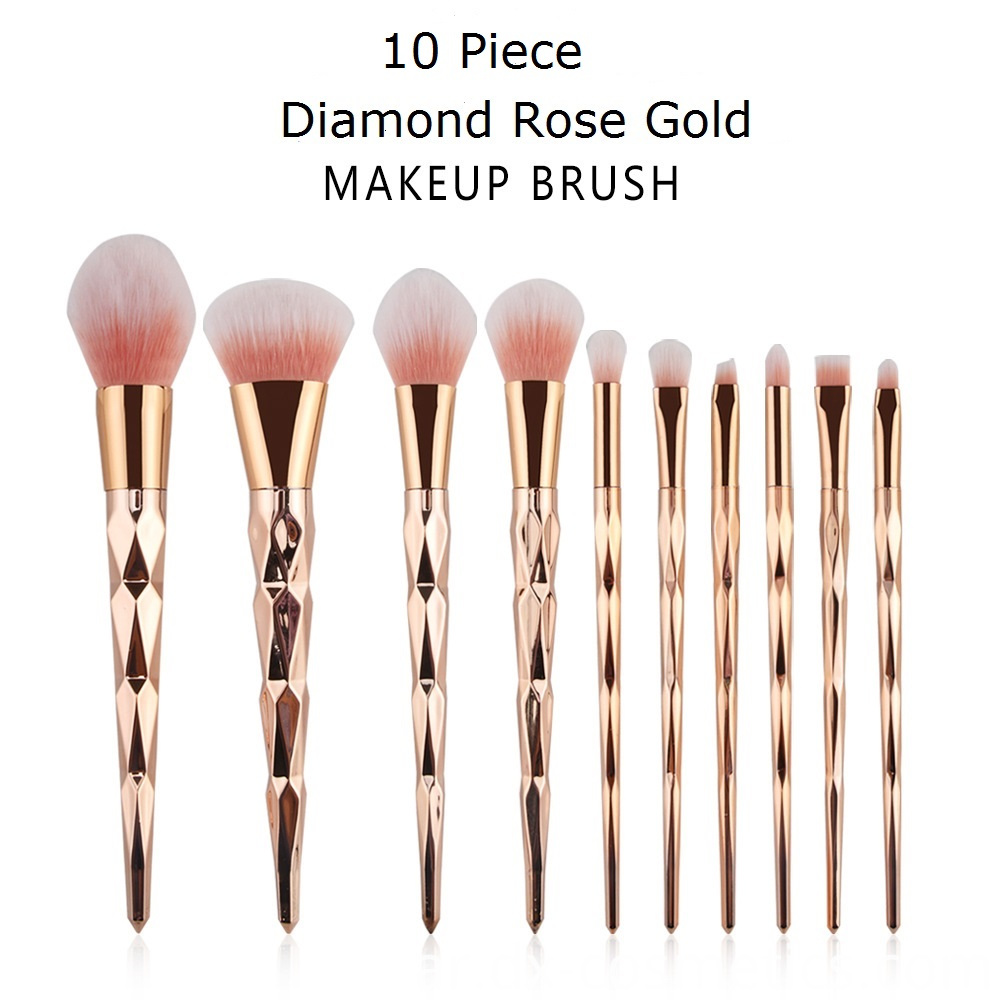 10 Pcs Diamond Rose Gold Makeup Brushes Sets 1-1
