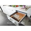 Armario de cocina moderno de la melamina del grano de madera