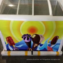 congelador de refrigerador de puerta de vidrio al aire libre congelador portátil con ruedas