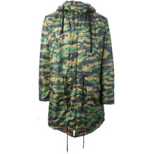 Hooded quilted mens camo parka