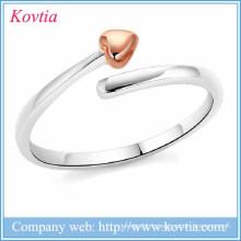 Nouveaux produits 2016 anneaux réglables en coeur ouvert anneaux en argent lacie coeur 925 en argent