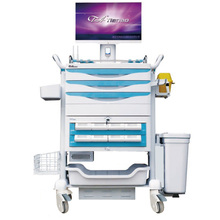 Chariot informatique mobile pour hôpital avec cassette de médicaments