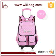 Bolsa desmontable de la carretilla de la escuela de Childern de la mochila de la rueda del ahorro de trabajo del niño para la muchacha