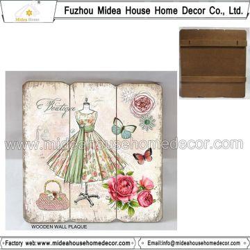Plaque en bois de décoration murale vintage