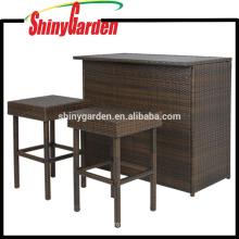 Einzigartige Stehtisch-und Stuhl-Möbel 3PC, Patio-Rattan-hohe Garten-Weidenrestaurant-Möbel im Freien