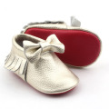 Hot Red Sole Koe lederen baby mocassins