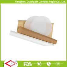 38GSM белый и коричневый подгонять силиконовые печь для выпечки пергаментной бумагой