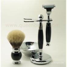 Melhor Badger cabelo Silicone Handle Shaving Brush Kit Melhor escolha para Private Label