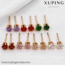 91282 Xuping vente chaude 18 k bijoux stud boucle d'oreille avec un gros zircon