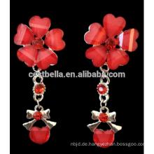 Schöne Frauen rote Halskette Braut Hochzeit Schmuck Ohrring Halskette gesetzt