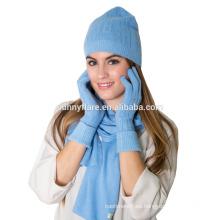 Casquillo y guantes de la gorrita tejida de invierno del punto de la cachemira de la alta calidad al por mayor