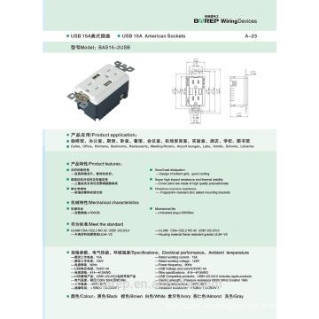 Zócalo de pared de la interfaz del usb 15A 2 GFCI Zócalo de la pared del USB