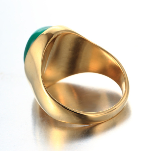 green gem gold ring
