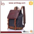 Sacs à dos de toile de toile de cuir véritable de haute qualité pour le sac à dos des hommes