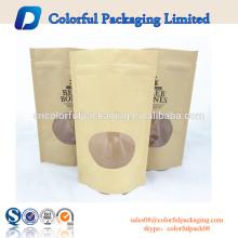 Porcas malas marrom saco de papel kraft saco de nozes com clara janela clara bolsas plásticas