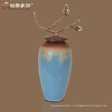 2016 производитель горячий продавать новый дизайн синий цвет фарфоровая ваза для дома отель декор