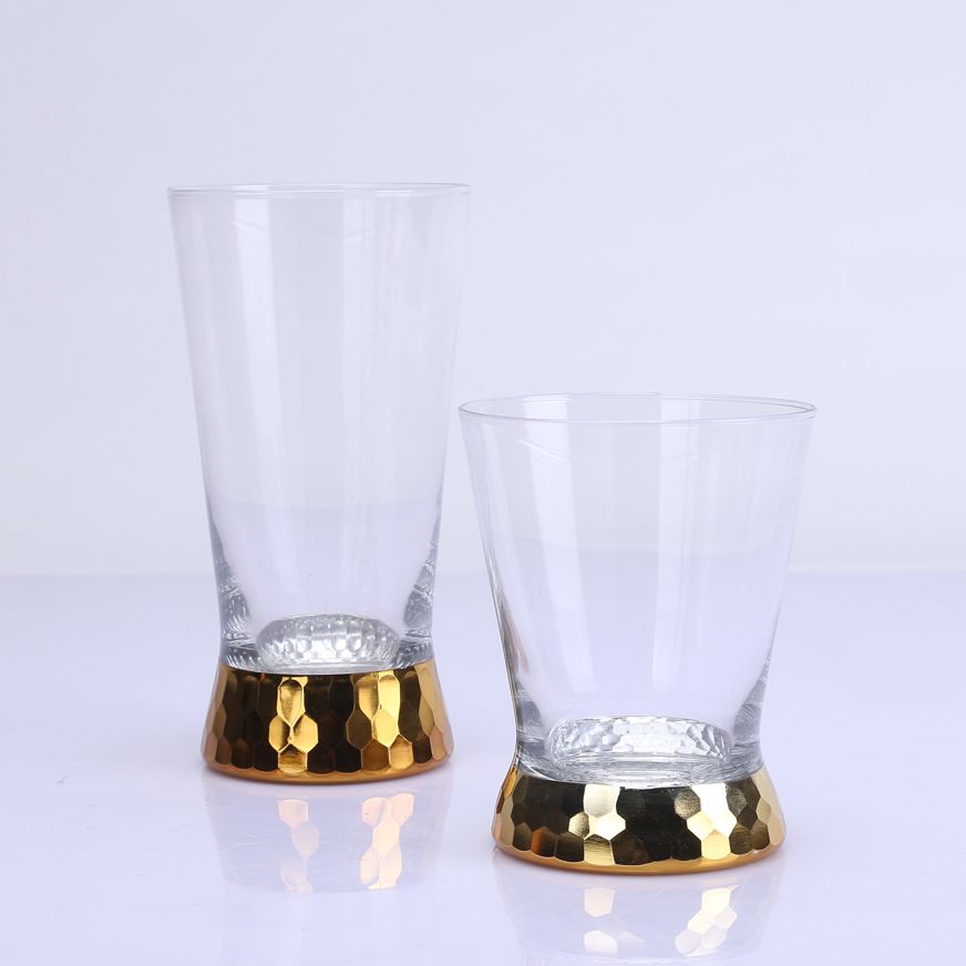 Br 9931 32handmade Engraving And Gold Color Electro Plating Drinking Glass Cup