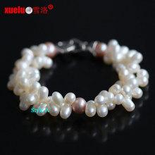 Pulseras de perlas de agua dulce naturales reales del 100% del doble filamento (E150045)