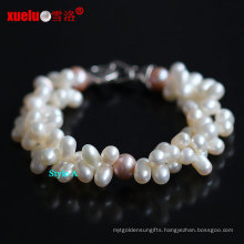 Double Strands 100% Real Natural Freshwater Pearl Bracelets (E150045)