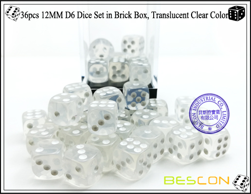 36pcs 12MM D6 Dice Set in Brick Box, Translucent Clear Color-4