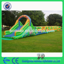 Curso inflable grande del obstáculo del campo de obstáculo inflable grande con la diapositiva para la venta