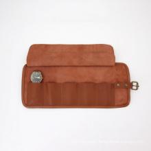 High Quality Custom Roll Up Watch Organizer Genuine Leather Storage Watch Bag