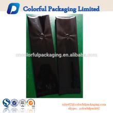 Sacos de reforço lateral laminado brilhante preto café embalagem de folha de alumínio folgado com válvula