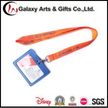 Correia de pescoço poliéster Material PU couro ID Card