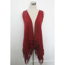 Senhora moda algodão malha franja xale colete (yky4428)