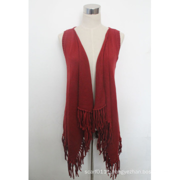 Lady Fashion Cotton Knitted Fringe Shawl Vest (YKY4428)