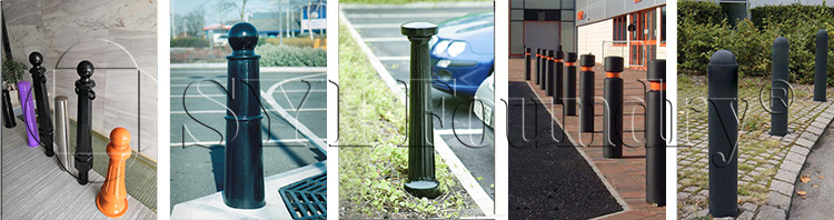 Manufacturers produce road traffic parking posts with locking chains and movable parking barricades