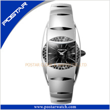 Elegante reloj de acero de tungsteno de señora con movimiento de cuarzo de alta calidad